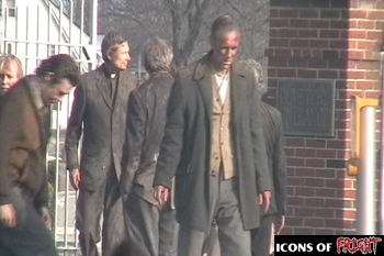 Zombie extras leaving cemetary on the set of Babylon Fields