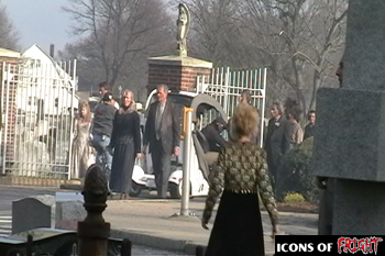 Zombie extras leaving the cemetary on the set of Babylon Fields