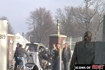 Camera following car into cemetary on the set of Babylon Fields
